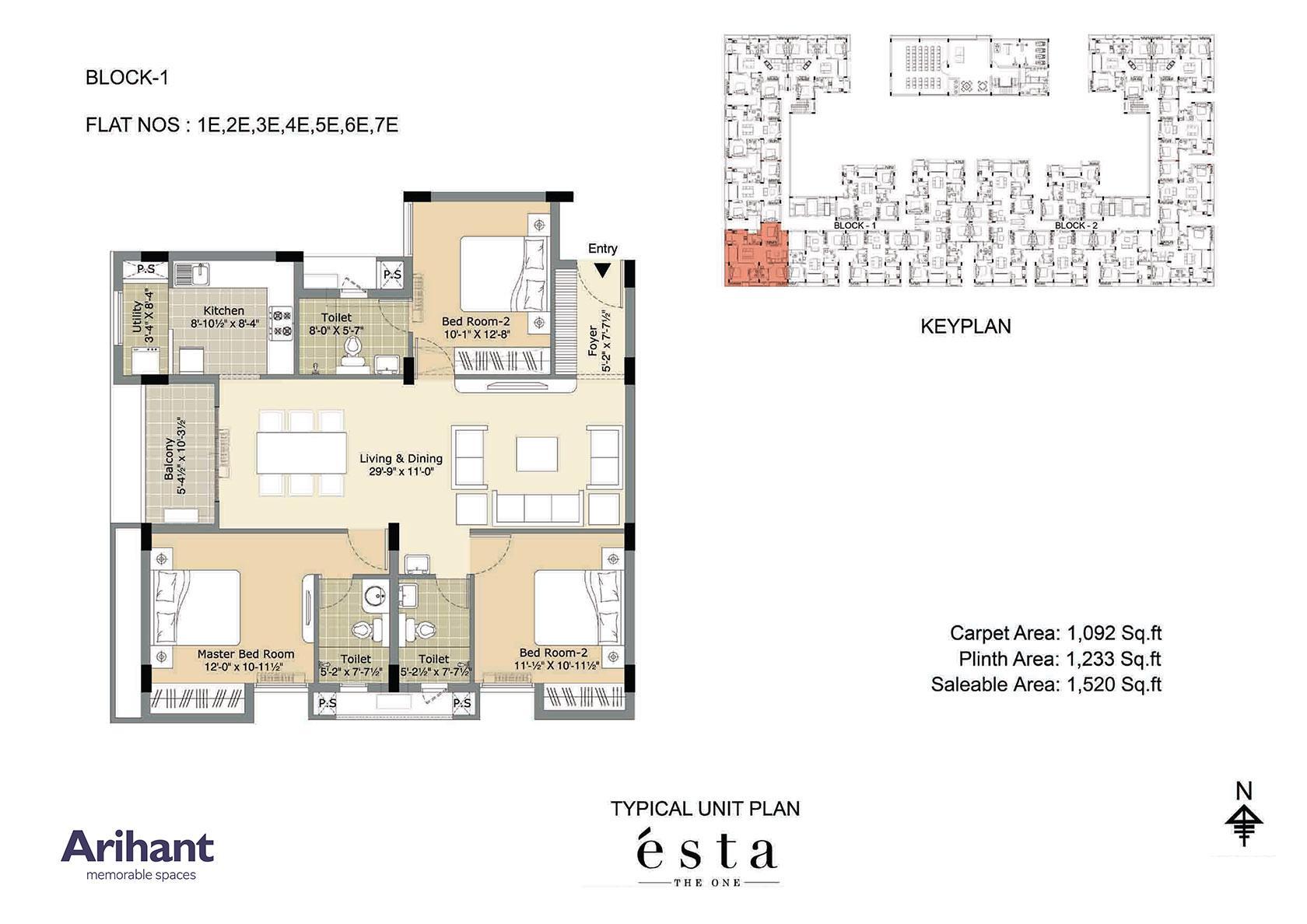 Arihant - Esta_Typical Unit Plan - Block 1 - Type E