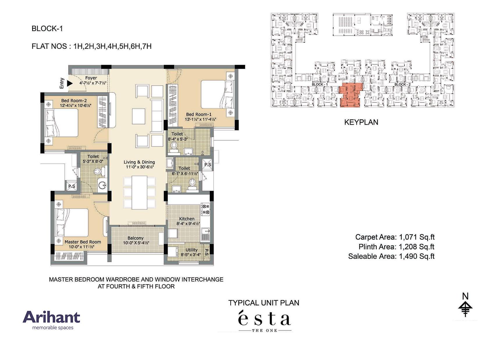 Arihant - Esta_Typical Unit Plan - Block 1 - Type H