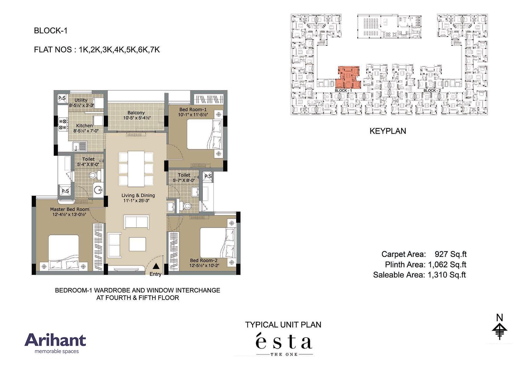 Arihant - Esta_Typical Unit Plan - Block 1 - Type K