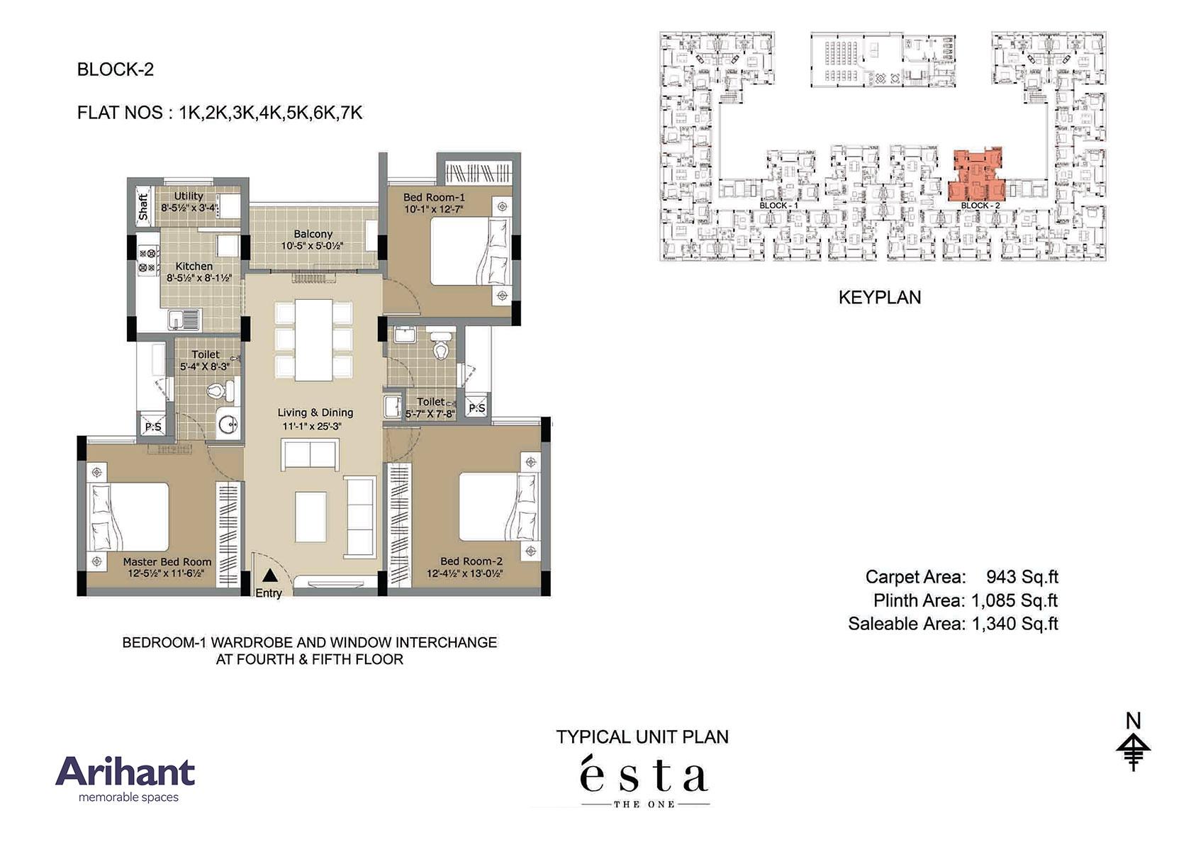 Arihant - Esta_Typical Unit Plan - Block 2 - Type K